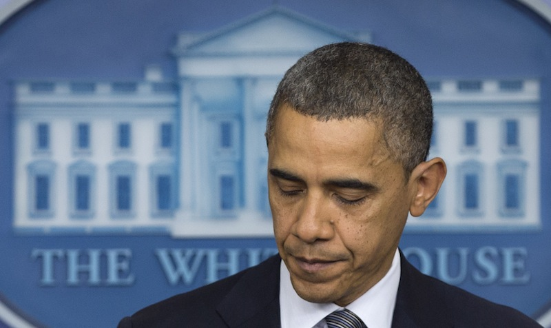 President Barack Obama talks about the Connecticut elementary school shooting, Friday, Dec. 14, 2012, in the White House briefing room in Washington. (AP Photo/Carolyn Kaster)