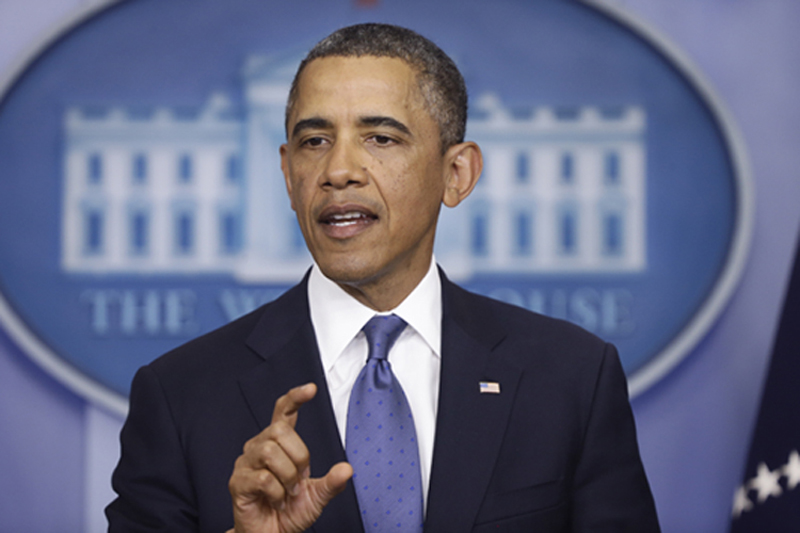 President Obama speaks to reporters in the Brady Press Briefing Room at the White House in Washington on Friday after meeting with congressional leaders regarding the fiscal cliff.
