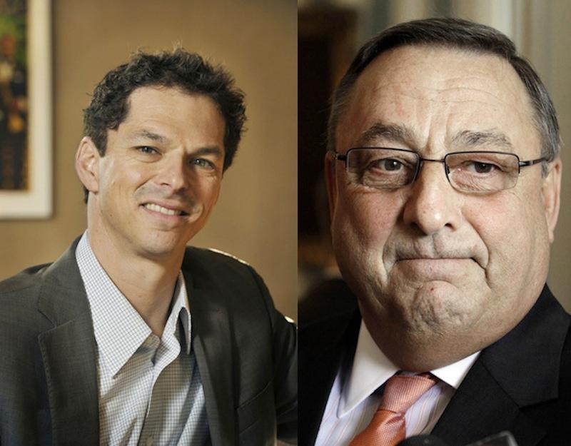 Maine Senate President Justin Alfond, D-Portland, and Gov. Paul LePage
