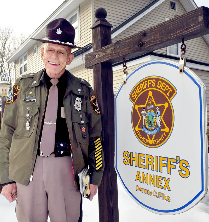 Franklin County Sheriff Dennis C. Pike at his home in Farmington, which also serveed as an annex for the veteran law enforcement officer.