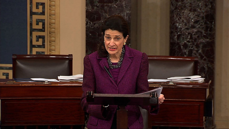 """A video image provided by Senate Television shows retiring Sen. Olympia Snowe, R-Maine, giving her farewell speech on Dec. 13. Snowe said she remains hopeful that the Senate can overcome """"excessive political polarization"""" and work together to reach consensus on important issues facing the nation."""