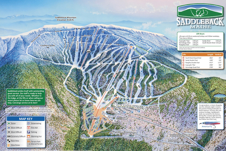 Saddleback ski area's trail map in 2012, showing new lifts, trails, and real estate developments added under the Berry family's ownership.