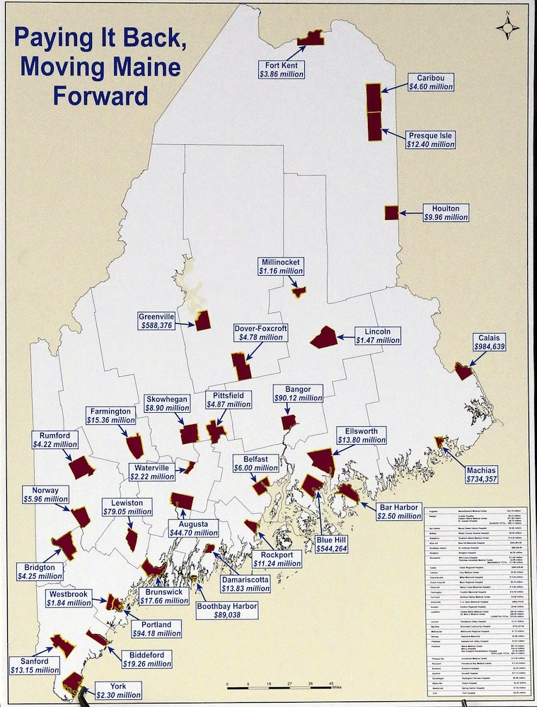 Gabe Souza/Staff Photographer: This graphs shows the debt owed by the State of Maine to hospitals throughout the state, seen at a press conference held by Gov. Paul LePage at the University of New England's College of Dental Medicine Patient Care Center Building, Tuesday, January 15, 2013. LePage's proposal is to use future liquor sale revenues as security against a bond that would pay the state's share of the hospital debt.