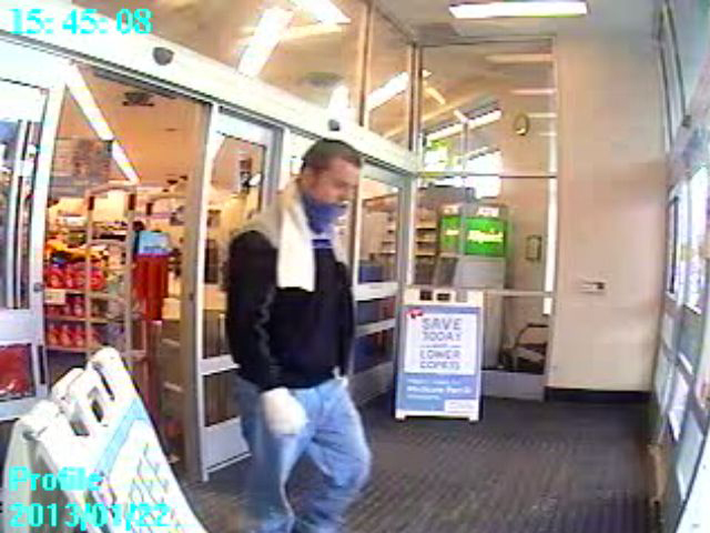 A surveillance photo from the Walgreens pharmacy on Water Street shows Anthony Post, 19, of Lewiston, who allegedly