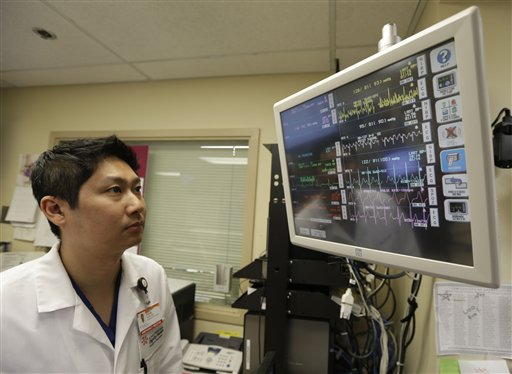 Dr. Steve Sun looks over a heart monitor display in the emergency room at St. Mary's Medical Center in San Francisco on Monday. A new government report shows the number of people seeking emergency treatment after consuming energy drinks has doubled nationwide over the last four years. Sun said he had seen an increase in energy-drink related cases at the Catholic hospital where he works on the edge of San Francisco's Golden Gate Park.