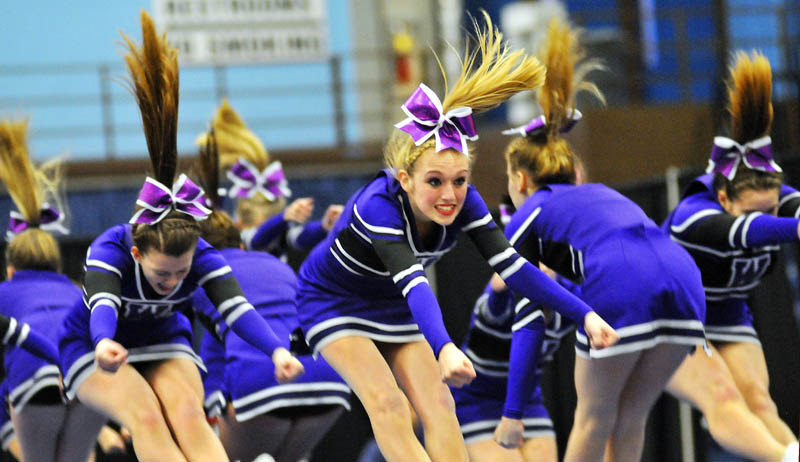 JUMP: Waterville High School cheerleaders compete at the Kennebec Valley Athletic Conference Class A cheering competition Monday in Augusta.