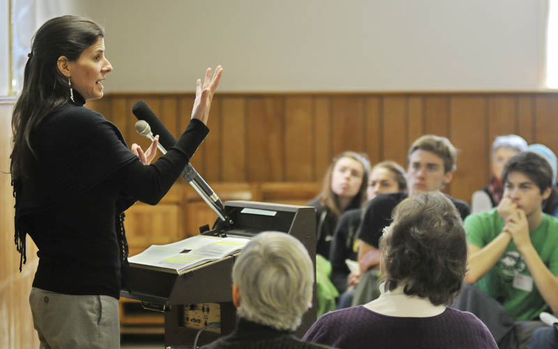 Esther Attean addresses guests at a Martin Luther King Jr. Day breakfast Monday, at the Winthrop Congregational Church, about the Maine Wabanaki-State Child Welfare Truth and Reconciliation Commission. Attean and fellow Passamaquoddy tribal member Denise Altvater spoke about the trauma of Native American children being placed in foster care at higher rates than white children.