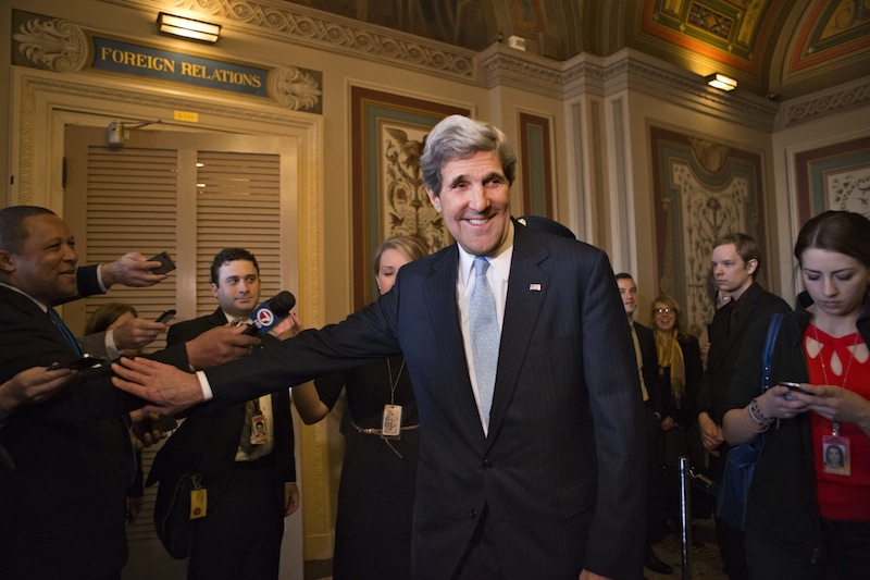 Sen. John Kerry, D-Mass., emerges after a unanimous vote by the Senate Foreign Relations Committee approving him to become America's next top diplomat, replacing Secretary of State Hillary Rodham Clinton, on Capitol Hill in Washington, Tuesday, Jan. 29, 2013. Kerry, who has served on the Foreign Relations panel for 28 years and led the committee for the past four, is expected to be swiftly confirmed by the whole Senate later Tuesday. (AP Photo/J. Scott Applewhite)