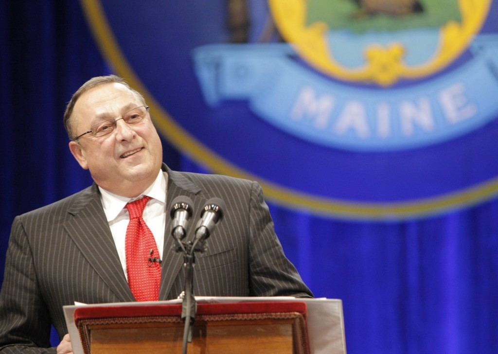 Gov. Paul LePage speaks after being sworn in at his inauguration on Jan. 5, 2011, at the Augusta Civic Center.