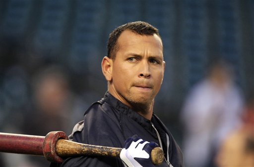 New York Yankees' Alex Rodriguez takes batting practice before Game 4 of the American League championship series against the Detroit Tigers in this Oct. 17, 2012, photo.