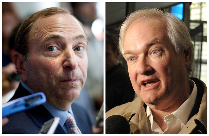 NHL Commissioner Gary Bettman, left, and Donald Fehr, executive director of the NHL Players' Association, reached a tentative agreement early Sunday in New York to end a nearly four-month-old lockout that threatened to wipe out the season.