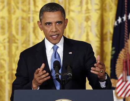 President Barack Obama speaks about the debt limit during a news conference at the White House on Monday.
