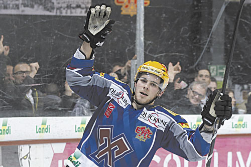 NORTH AMERICA BOUND: Biel's Tyler Seguin, celebrates during a Swiss League A hockey match between SC Bern and EHC Biel last month in Bern, Switzerland. Seguin, a Boston Bruins' right wing, can now look forward to playing in the NHL now that the lockout is over.