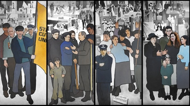 A section of the mural depicting scenes from Maine labor history that will be displayed at the Maine State Museum beginning Monday.