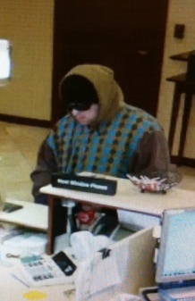 A still from security camera footage shows the suspect in Thursday's robbery of the York County Credit Union in Sanford.