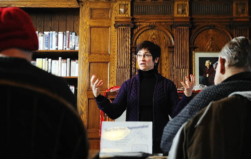 Rep. Gay Grant, D-Gardiner, speaks during a fireside chat with constituents on Saturday in the Hazzard Reading Room at the Gardiner Public Library.