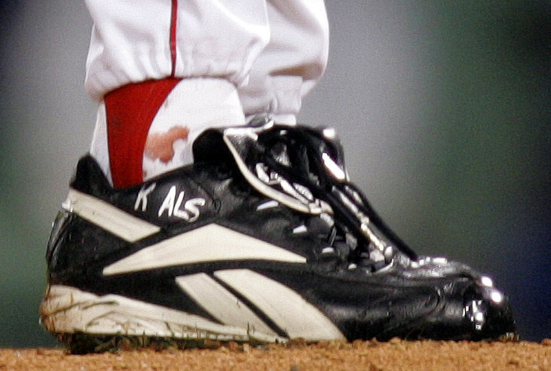 The bloodstain on pitcher Curt Schilling's sock grew famous as the Red Sox played their way to a World Series victory in 2004.