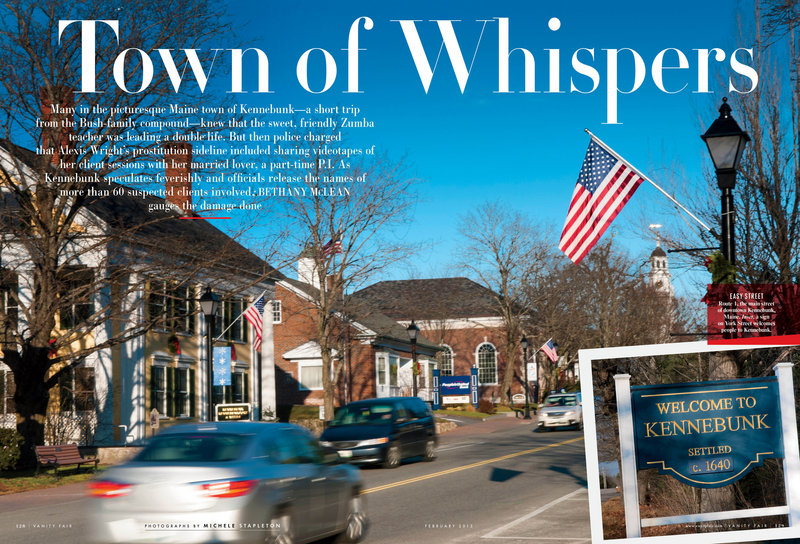 """The prostitution scandal in Kennebunk is the focus of a feature story in the latest issue of Vanity Fair, going on sale nationally Tuesday. """"This article puts the spotlight back on Kennebunk,"""" said one Portland lawyer."""
