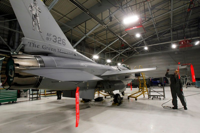 Master Sgt. Andrew Ehlers does repairs on an F-16 fighter plane in South Burlington, Vt. To some, the next-generation F-35 is a source of jobs and millions of dollars for the local economy. To opponents, the plane is a looming nuisance much louder than the F-16.