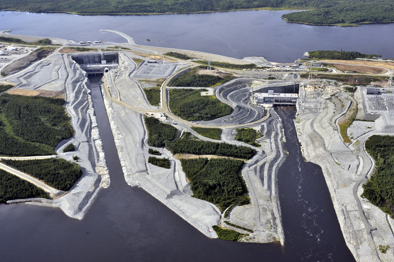 Aerial view of the powerhouses from Hydro-Quebec's Eastmain-1-A and Eastmain-1 hydroelectric stations, near James Bay in northern Quebec. They are part of the $5 billion Eastmain / Sarcelle / Rupert project, which will have a total installed capacity of 918 megawatts, comparable to the output of a large nuclear power plant.