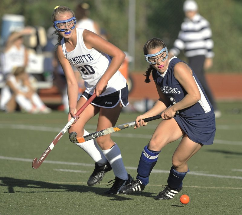 An orange ball is one of the accommodations school athletics officials have made for Fryeburg Academy's Christina DiPietro, a field hockey player who is legally blind, seen playing against Yarmouth last year.