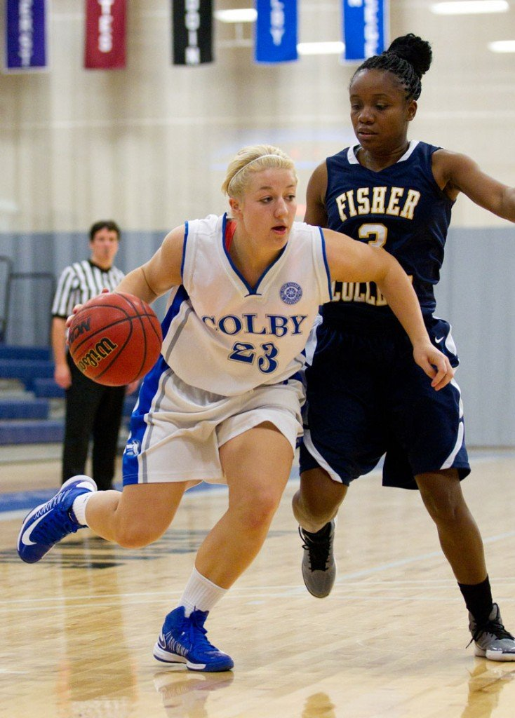 BIG IMPACT: Hall-Dale High School graduate Carylanne Wolfington (23) had moved into the starting lineup at power forward for the Colby women's basketball team. Wolfington, a 5-foot-7 freshman, is averaging 7.5 points and 61. rebounds per game for the 6-8 Mules.