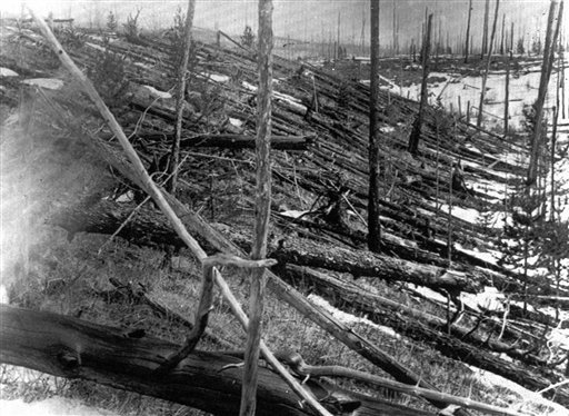 In this 1953 photo, trees lie strewn across the Siberian countryside 45 years after a meteorite struck the Earth near Tunguska, Russia. The 1908 explosion is generally estimated to have been about 10 megatons; it leveled some 80 million trees for miles near the impact site. The meteor that streaked across the Russian sky on Friday is estimated to be about 10 tons. It exploded with the power of an atomic bomb over the Ural Mountains, about 3,000 miles west of Tunguska.