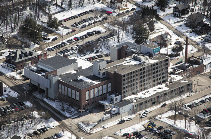 MaineGeneral Medical Center's Augusta campus on East Chestnut Street, seen from an aerial photo taken last week.