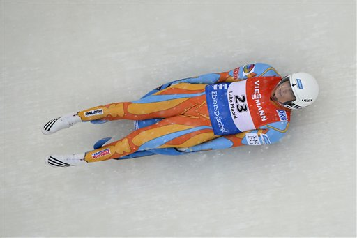 Julia Clukey, of the United States, heads down the track on the way to a second-place finish in the women's luge World Cup race in Lake Placid, N.Y., on Friday, Feb. 8, 2013. (AP Photo/John DiGiacomo) Sports;Women's sports;Luge;Women's luge