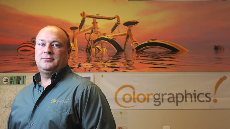 Peter Schutte, owner of ColorGraphics and co-owner of PremierColor/Atkins Printing Service, is the Mid-Maine Chamber of Commerce's 2012 Business Person of the Year.