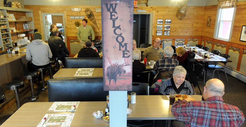 Diners sit for lunch at Thompson's restaurant on Main Street in Bingham on Wednesday.