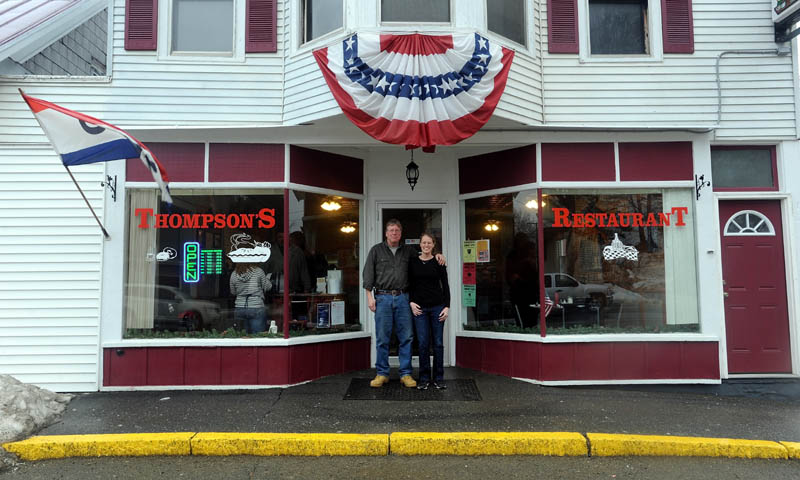 Jay Strickland and his daughter, Amber, pose for a portrait outside Thompson's Restaurant on Main Street in Bingham on Wednesday. Jay Strickland recently bought the restaurant and his daughter, Amber, is the manager.