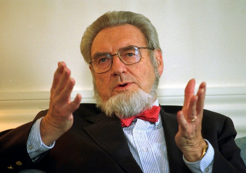 In this May 12, 1997, file photo, former Surgeon General Dr. C. Everett Koop discusses the proposed increase of the New Hampshire cigarette tax at the governor's office in the Statehouse in Concord, N.H. Koop, who raised the profile of the surgeon general by riveting America's attention on the then-emerging disease known as AIDS and by railing against smoking, died Monday, Feb. 25, 2013, at age 96. (AP Photo/Andrew Sullivan, File)