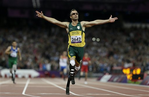 In this Saturday, Sept. 8, 2012. photo, Oscar Pistorius wins gold in the men's 400-meter T44 final at the 2012 Paralympics, in London.