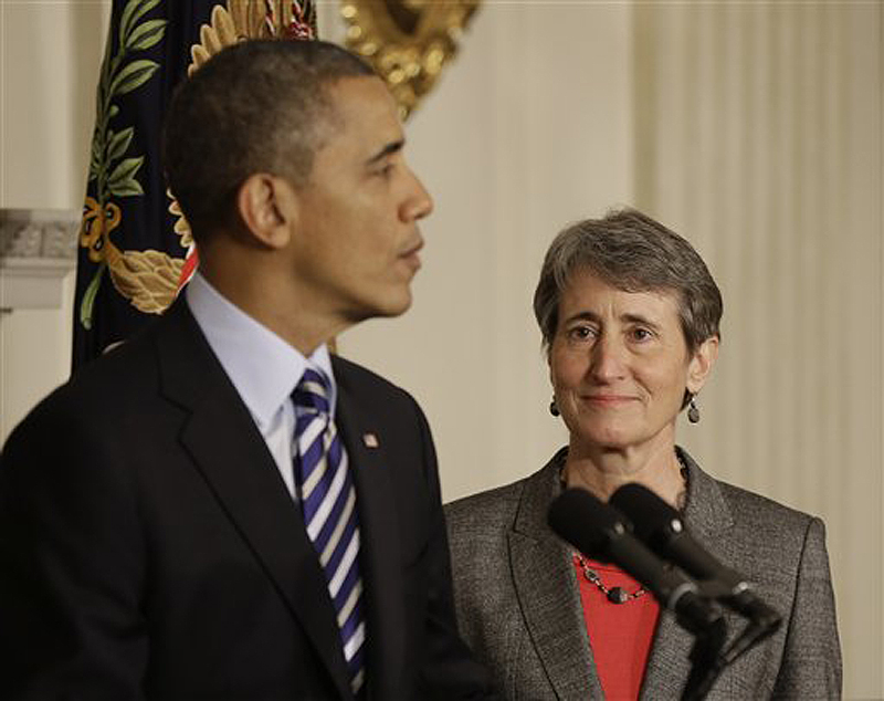 President Obama announces he is nominating Sally Jewell, right, as the next secretary of the interior.