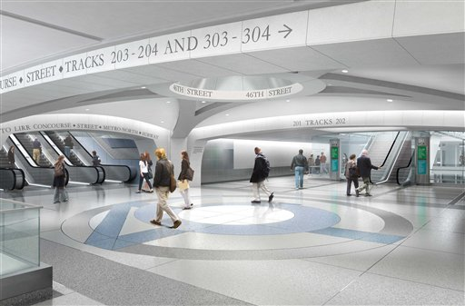 In this undated artist's rendering provided by the Metropolitan Transportation Authority in New York show the Mezzanine node of the Second Avenue Subway at 46th Street in New York City. The Second Avenue Subway is being built to ease rider congestion on Lexington Avenue trains.