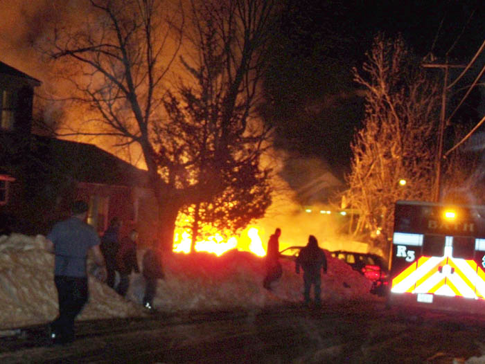 The scene this morning shortly after a suspected propane explosion leveled a duplex at 31-29 Bluff Road.