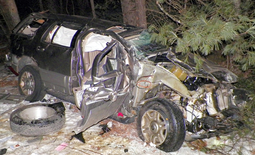 Police said a 2003 Mercury Mountaineer rolled over and crashed into trees early Wednesday morning in Vienna, killing the driver, Hilda Howe, 36, of Farmington Falls.