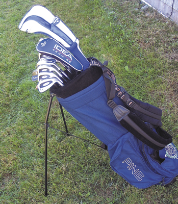 The blue Ping golf bag that held the set of golf clubs stolen from Ross Bragg and acquired from a pawn shop by Nolan Coon had a patch from the Augusta Country Club in Manchester and was made up mostly of Titleist clubs, but had a Ping putter and a Minuzo driver.