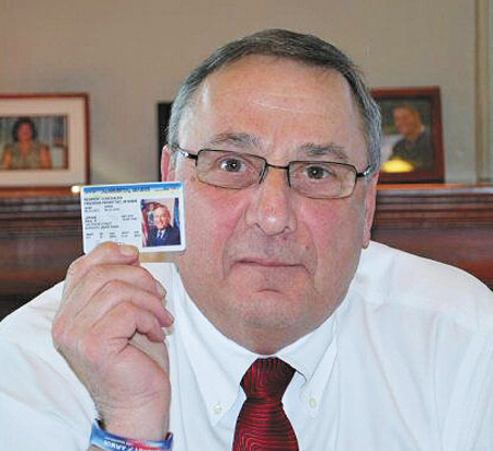 """Gov. Paul LePage displays his concealed-carry permit in a photo posted to his Twitter account on the afternoon of Thursday, Feb. 14, 2013. """"If newspapers want to know who has concealed weapons permits, they should know I do,"""" LePage tweeted."""