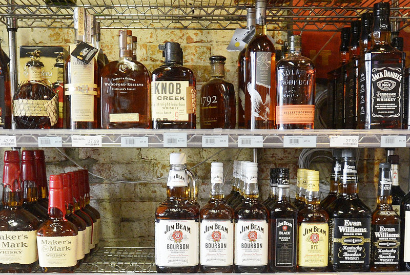 Liquor is on display at Downeast Beverage on Commercial Street in Portland on Thursday, Sept. 6, 2012.