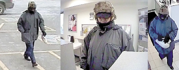 Waterville police continue to investigate leads to capture this male suspect, pictured in a surveillance photographs, who robbed the Key Bank in Waterville on Thursday.