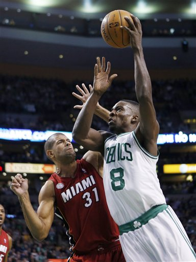 Boston Celtics' Jeff Green (8) shoots over Miami Heat's Shane Battier (31) in the first quarter of Monday in Boston.