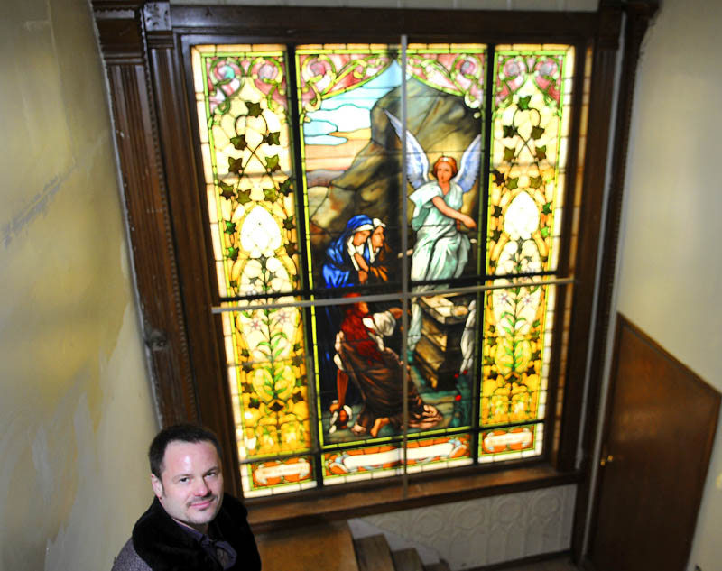 The Stone Turret bed and breakfast will feature several stained glass windows with a Christian theme, which proprietor Shawn Dolley plans to retain as part of a redesign of the Gardiner building into a bed and breakfast and apartments.