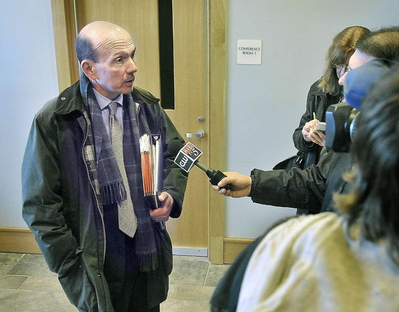 Andrew Benson, assistant attorney general, speaks with media outside the courtroom at Skowhegan District Court Friday morning after a closed hearing in the Kelli Murphy manslaughter case. The hearing ended without a ruling being issued as to whether Murphy is competent to stand trial for manslaughter.
