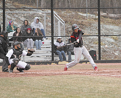 SWINGING AWAY: Thomas College's Cody Vigue batted .341 with 29 RBIs last season. The Skowhegan Area High School graduate also had 18 extra base hits, including three home runs, and stole 10 bases. He also made only one error in center field.