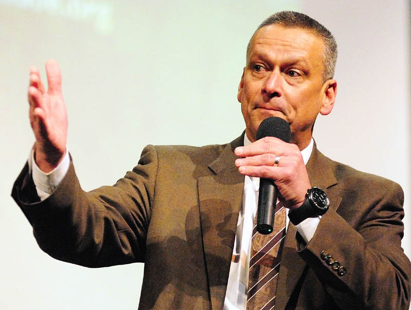 Dr. Tony Bennett, Florida education commissioner, delivers the keynote speech during the Governor's Conference on Education on Friday at Cony High School in Augusta.