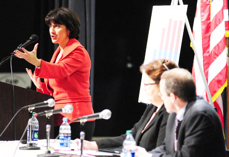 Jeanne Allen, of the Center for Education Reform, speaks during Governor's Conference on Education: Putting Students First on Friday March 22, 2013 at Cony High School in Augusta.