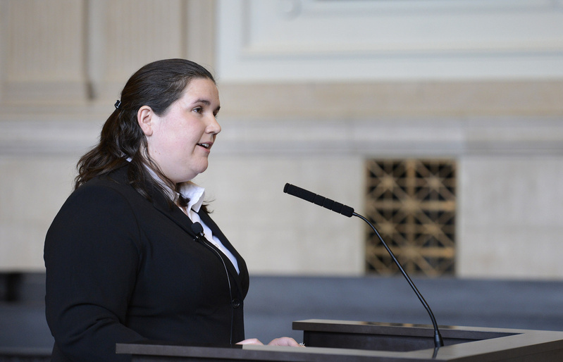 Kaylan Phillips, an attorney for the anti-gay-marriage group National Organization for Marriage, makes her case to the Maine Supreme Judicial Court on Thursday as the group seeks to overturn a lower court's ruling that it must release the identity of its donors.