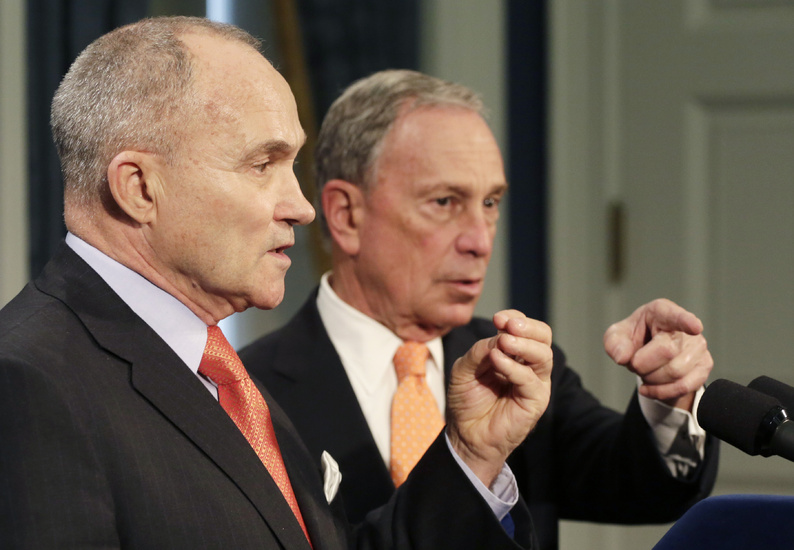 New York City Police Commissioner Raymond Kelly, left, and Mayor Michael Bloomberg hold a news conference about the Boston bombing suspects on Thursday in New York.